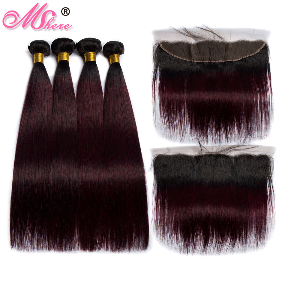 Mshere Straight Ombre Hair 3 Bundles With Frontal Closure 1B 99J Dark Root Brazilian Human Hair