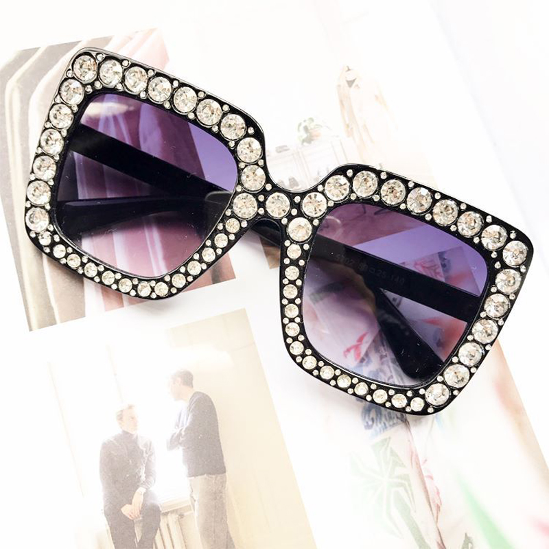 Pop Age New Women Luxury Beautiful Crystal Square Sunglasses Mirror Retro Diamonds