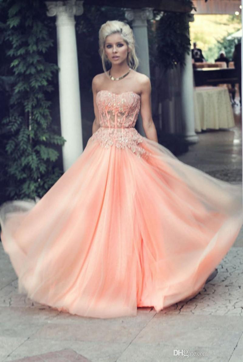 Aliexpress.com : Buy Hot Long Elegant Poofy Blush Pink Prom ...