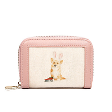 Stitching Canvas Mini Women Wallet Dog Female Coin Purse Multi-card Organ Bag Pu Leather Card Holder Zipper Purse(China)