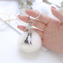 Keyring Gift NEW Lovely Samoyed Fur Keychains Fake Rabbit Ball Key Chain Fluffy Bag Charms Dogs Keychain Cute Animals