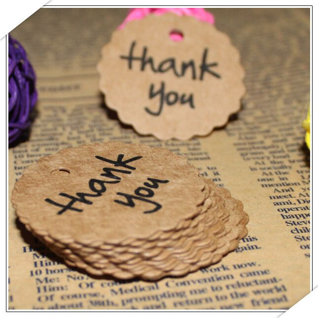 Aliexpress.com : Buy 50pcs Thank You Gift Tags Kraft Paper Tag ...