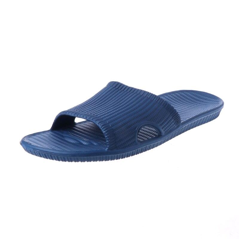 KLV 2018 New Men's Comfortable Indoor Home Slip-on Slipper Bath Shower Flip-Flops Dark Blue
