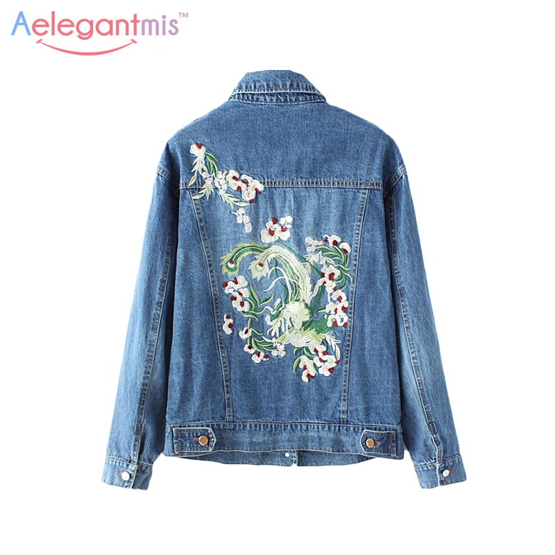Aelegantmis fall casual floral embroidery denim jacket