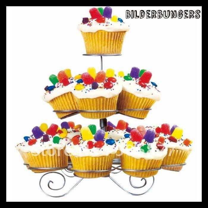 Nouveau Dessert Cupcake Stand arbre titulaire 3 niveau métal parti Muffin service gâteau d'anniversaire 13 copos Stands dans Béquilles de Maison & Jardin