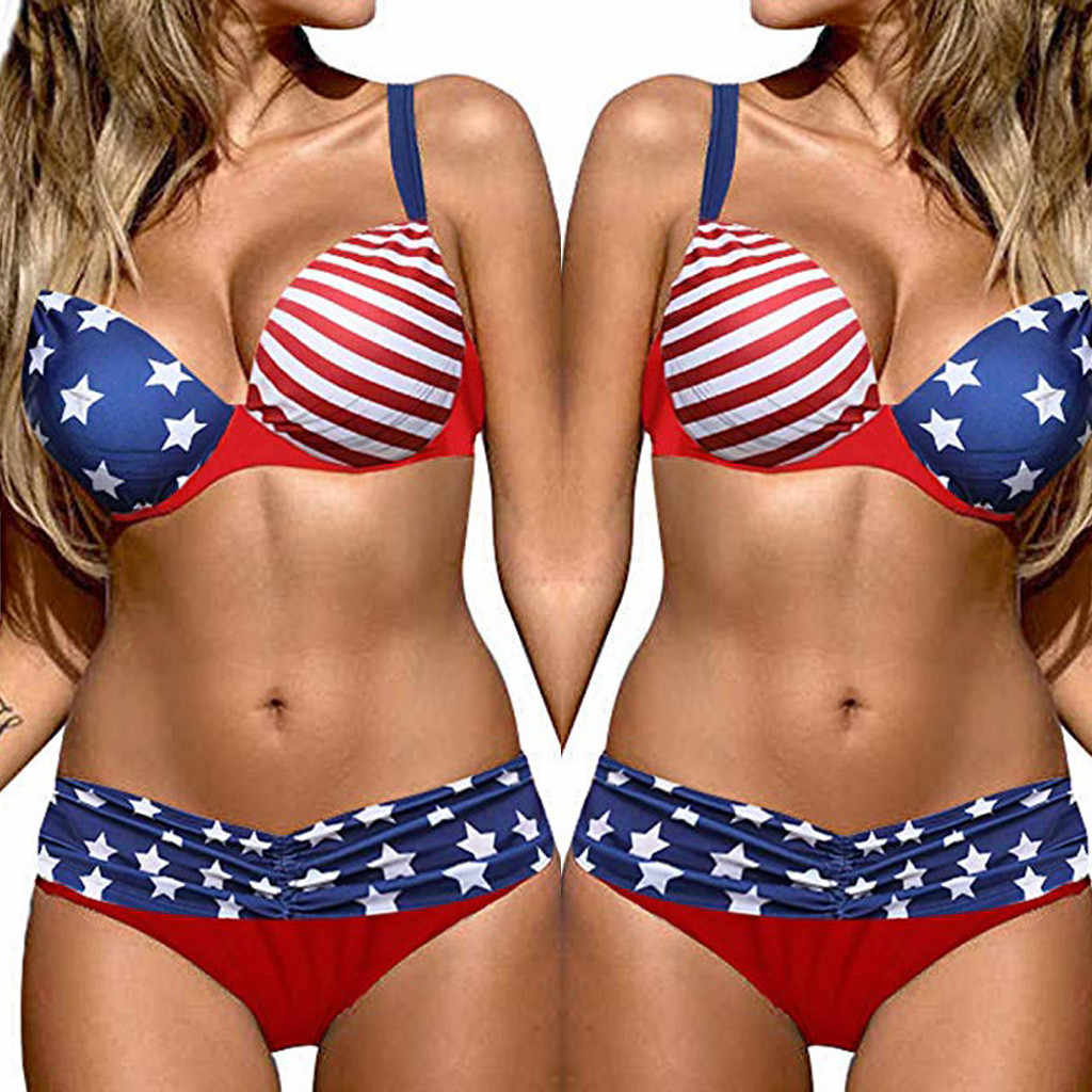sexy  women swimsuit High Waist Push-up Bikini set   two piece bathing suit  4th Of July  backless American flag  Beachwear