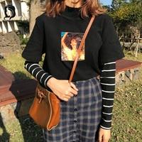Новая модная женская Толстовка Harajuku футболка женская с принтом Модные женские корейские Поддельные футболки из двух частей женские топы Ст...