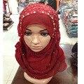 Женщина/Женщины Шарф мусульманские хиджабы, шифон хиджабы Color All-матч Плиссе Мусульманское Hijab Горячие Моды Повязка Кристалл Шарфы