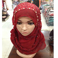 Female/Women Scarf  muslim hijabs , chiffon hijabs Color All-match Pleated Muslim Hijab Hot Fashion Headband Crystal Scarves