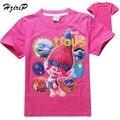2017 Novos Dos Desenhos Animados Verão Trolls T camisa de Algodão T-shirt Dos Miúdos Das Crianças Roupas Da Moda Meninas Bonito Projeto Princesa Das Meninas Caber 4-12Y