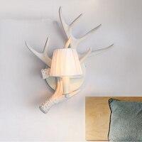American Deer Antler Wall Lamp For Restaurant Living Room Background Wall Lights study Bedroom Wall Light White led Vanity Light