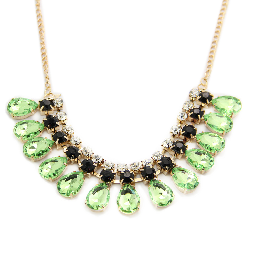 Canlyn Jewelry (2 pieces/lot) Arylic Crystal Inlaid Fashion Statement Necklace Colar for Women Mix Lots Wholesale CX160