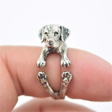 RONGQING Anillo 12pcs/lot Labrador Retriever Dog Rings Adjustable for Women and Kids Fashion Pet Dog Ring Jewelry Gifts