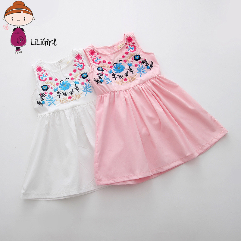 Girls Embroidered Dress 2017 New Brand Fashion Summer Girl Children Clothing for Kids Cute Casual Baby Flower Princess 2-9year 2017 new fashion brand summer kids clothes children clothing girls dress baby kids princess dress summer denim holiday sundress