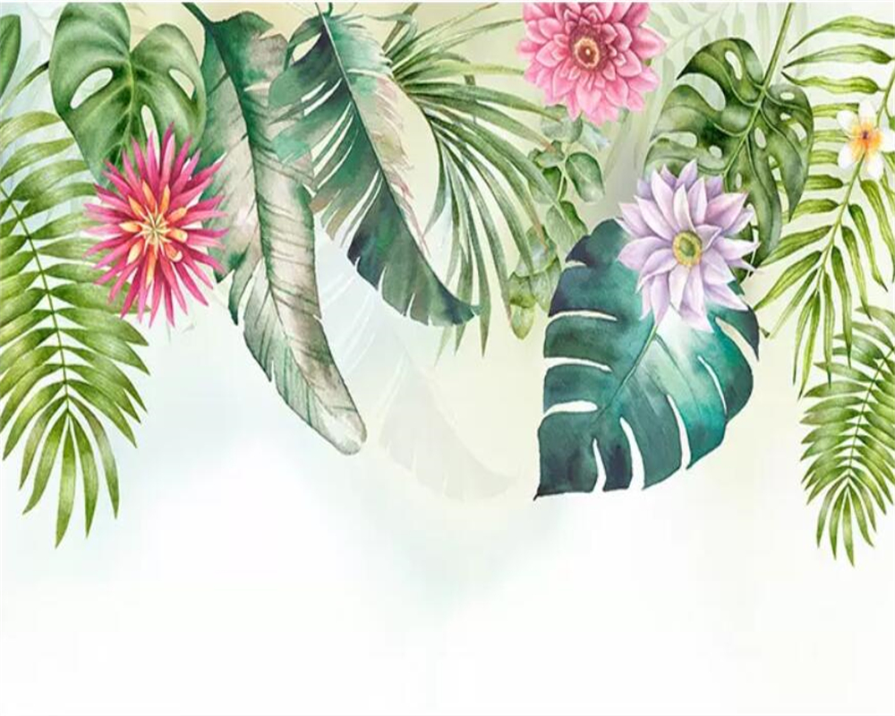 Beibehang Wallpaper 3d Tropical Plantain Hummingbird Hand Painted