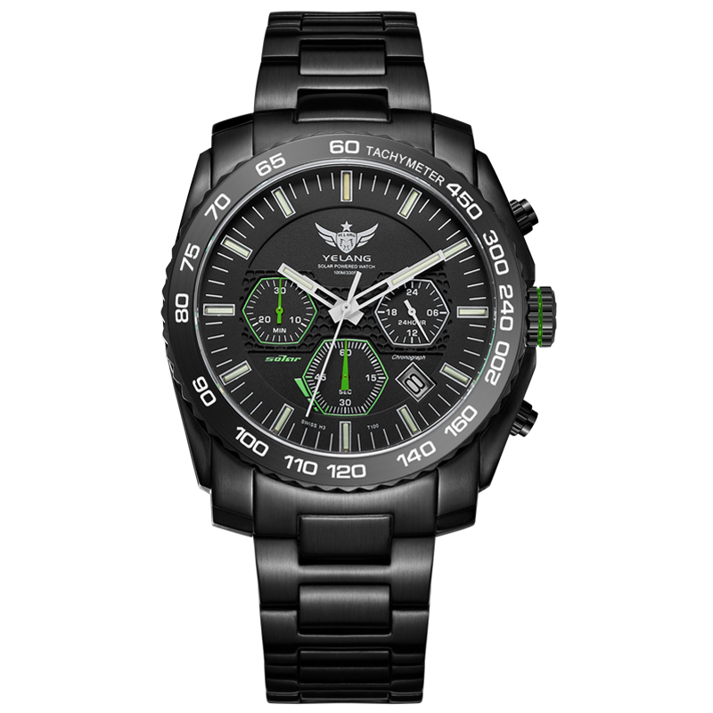 где купить New Arrive YELANG V1210 Eco-Drive Movement T100 Tritium Luminous Steel Strap Sapphire Mirror Men Business Watch Wristwatch по лучшей цене