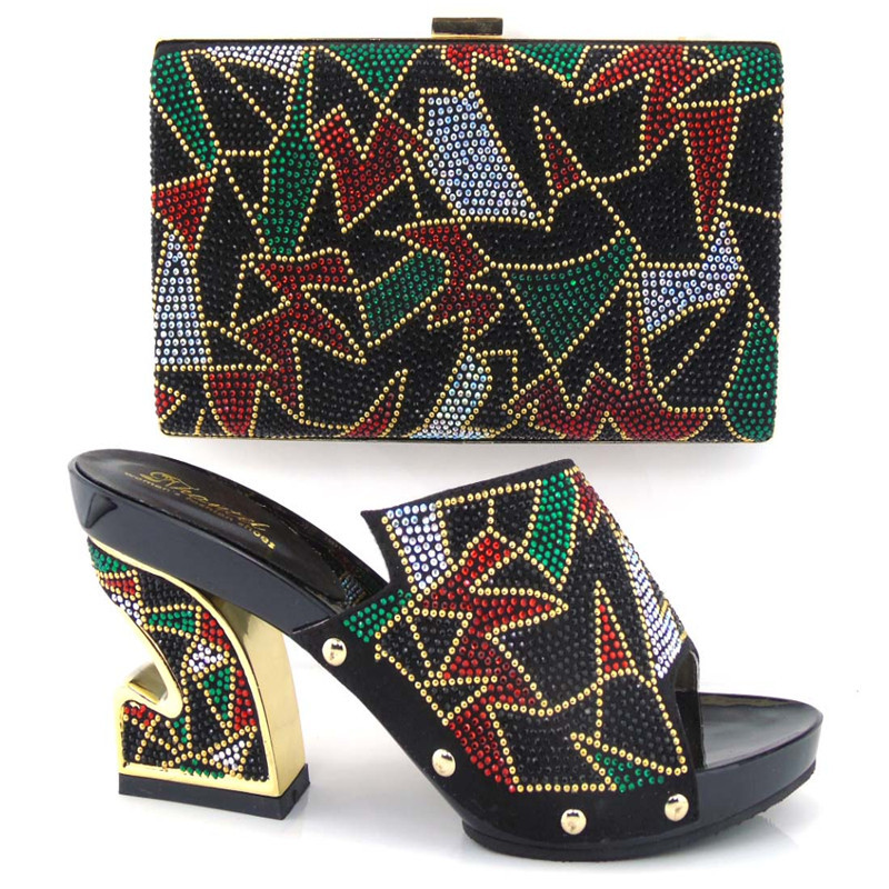 ФОТО Italian Shoe And Bag Set For Party TH16-08 Shoes With Rhinestone Evening Shoe African High Quality Sandal Matching Bags Set