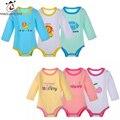 3 Unid/lote Mono Del Bebé Recién Nacido ropa de Bebé de moda de Manga Larga de Algodón de Colores Roupas Bebes Mono Infantil Del muchacho Del Bebé conjunto