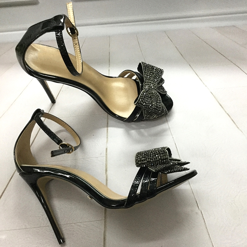 Brand Fashion Design High Heel Sandals Crystal Bow Tie Ankle Wrap Sandals Formal Women Dress Shoes trendy keyhole neck bow tie backless sheath dress for women