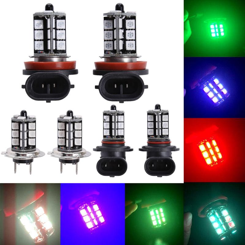 2Pcs 9005/9006/H7/H8/H11 LED 27 SMD 5050 RGB Car Headlight H7 H11 Fog Light Bulb Automobiles Running Lamp w/ Remote Control forex b016 h 5050