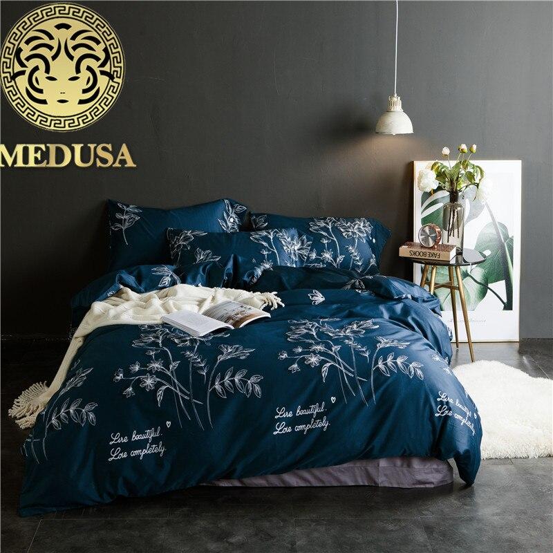 Medusa Egiziano raso di cotone fogli set biancheria da letto king queen size bed copripiumino federe foglio 4 pz letto biancheria da letto set