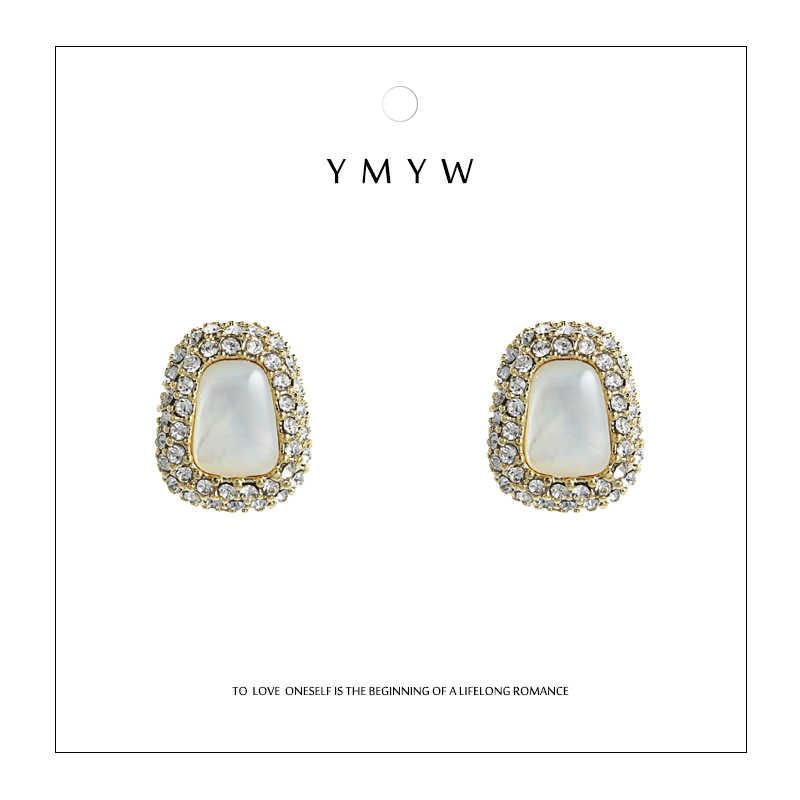 YMYW мода шик горный хрусталь запонка с опалом серьги 925 цинковый сплав 14 k позолоченные серьги для женщин Pendientes Mujer Moda 2019