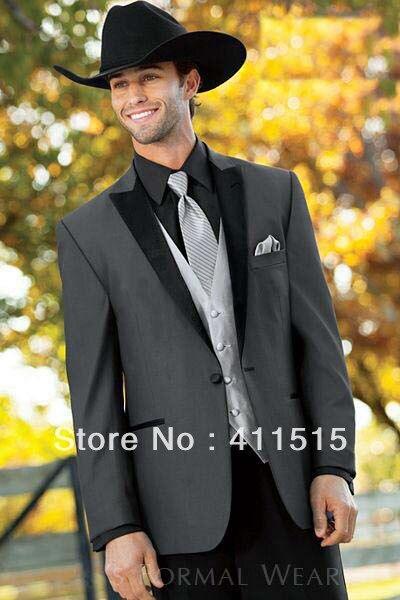 Бесплатная доставка / уголь пик жених носят смокинги жениха мужчины свадебные костюмы костюмы / мужчины жених платье жилет