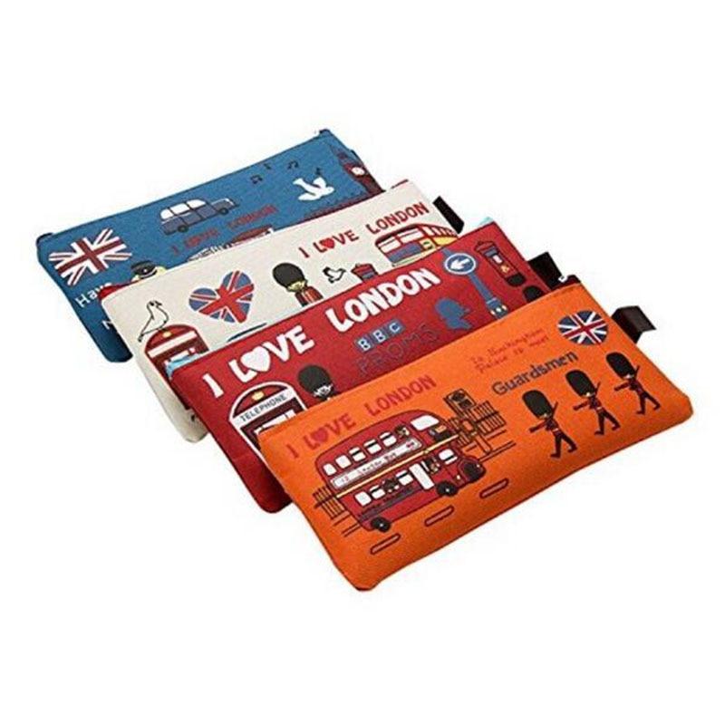 Cartoon Pencil Case Girl Boy School Stationery Student Hawaiian Pencil Bag London Oxford Cloth Cosmetic Bag Wallet