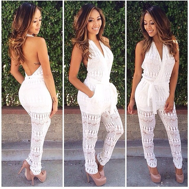 7fc7ea51cabd New arrival sexy white halter V neck mesh lace patchwork hollow out jumpsuits  romper playsuit piece pants overalls long macacao