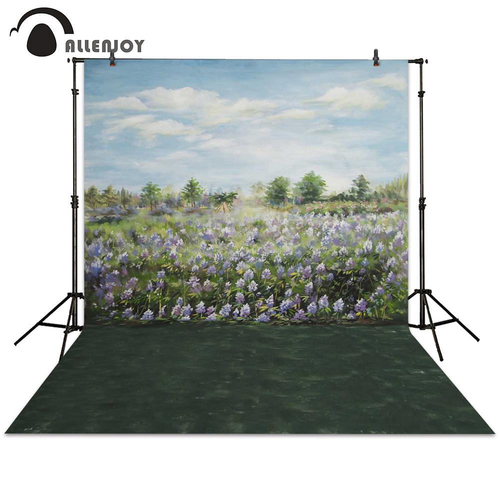 Allenjoy photography backdrops retro flower grass tree painting green backgrounds photocall photo booth 600cm 300cm backgrounds painting flowers blooming beauty mother s day photography backdrops photo lk 1428