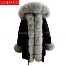 Plus size new long black winter jacket women warm outwear thick parkas natural real grey fox fur collar coat hooded pelliccia