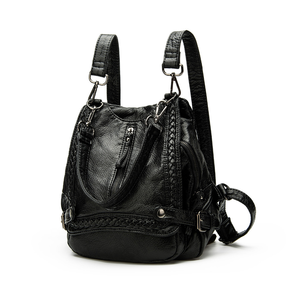 2017 Europe United States new fashion retro PU leather woven shoulder bag backpack large capacity computer