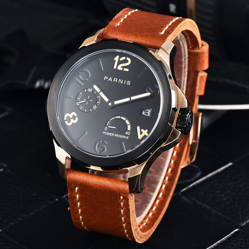 2017 New Arrivals Self Wind Mens Automatic Watch Luxury Top Brand Parnis 44mm Power Reserve Rose Gold Black Designer Watch Men 2017 new arrivals mechanical watch parnis 44mm 5bar luminous brown leather rose gold mens automatic watch reloj hombre