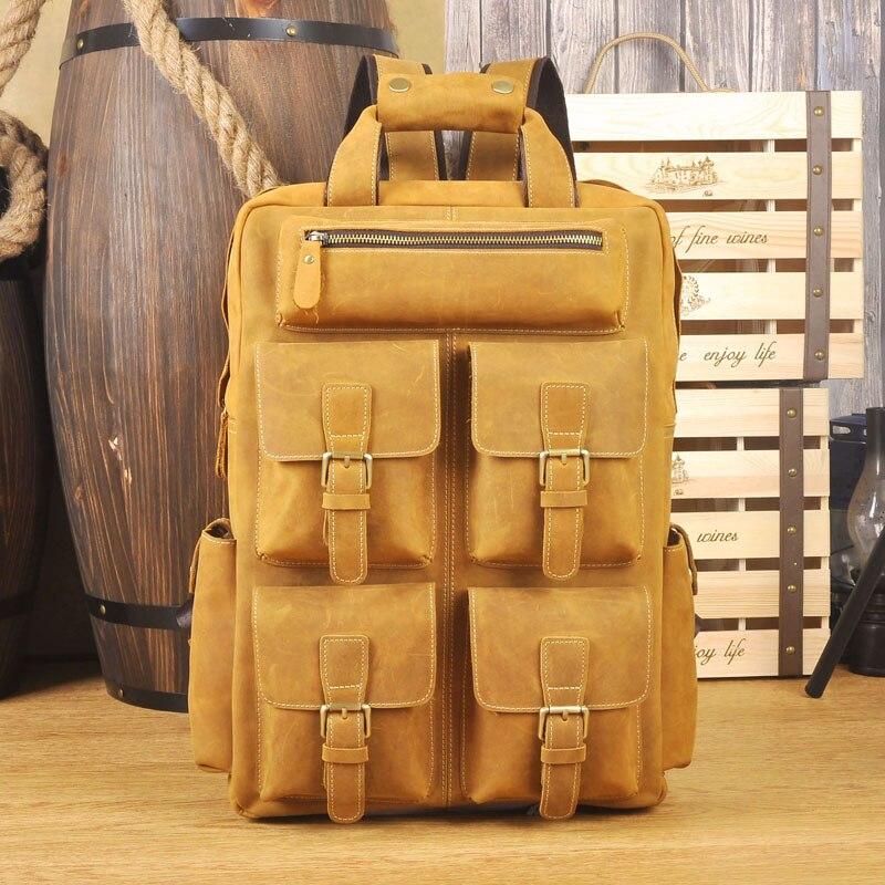Classique crazy horse sac à dos en cuir pour hommes multifonction 17 pouces ordinateur portable grande capacité voyage sac à dos en peau de vache sac à dos pour homme