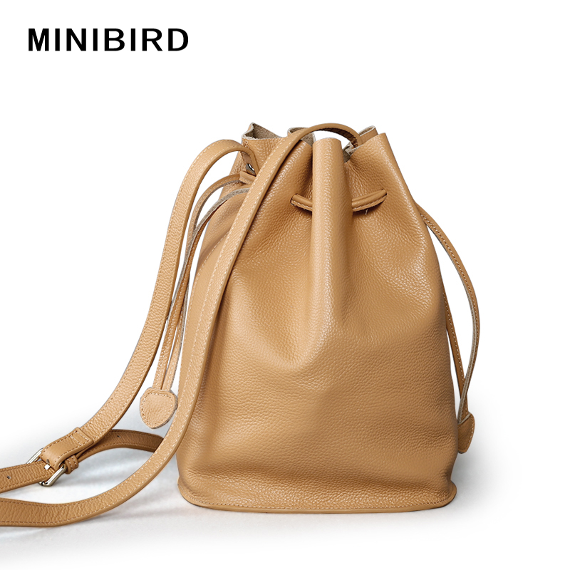 Lady Messenger Bags Youth Girls High Quality Simple Cowskin Genuine Leather Crossbody Bag Women Strap Bucket Bags