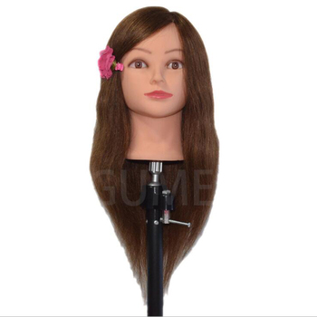 100% Human Hair Mannequins Head 18inch Training Head With Brown Hair Head Styling Professional Female Hairdresser Mannequin Head 100% real hair mannequin head professional manikin head with human hair hairdressing mannequins hair styling head