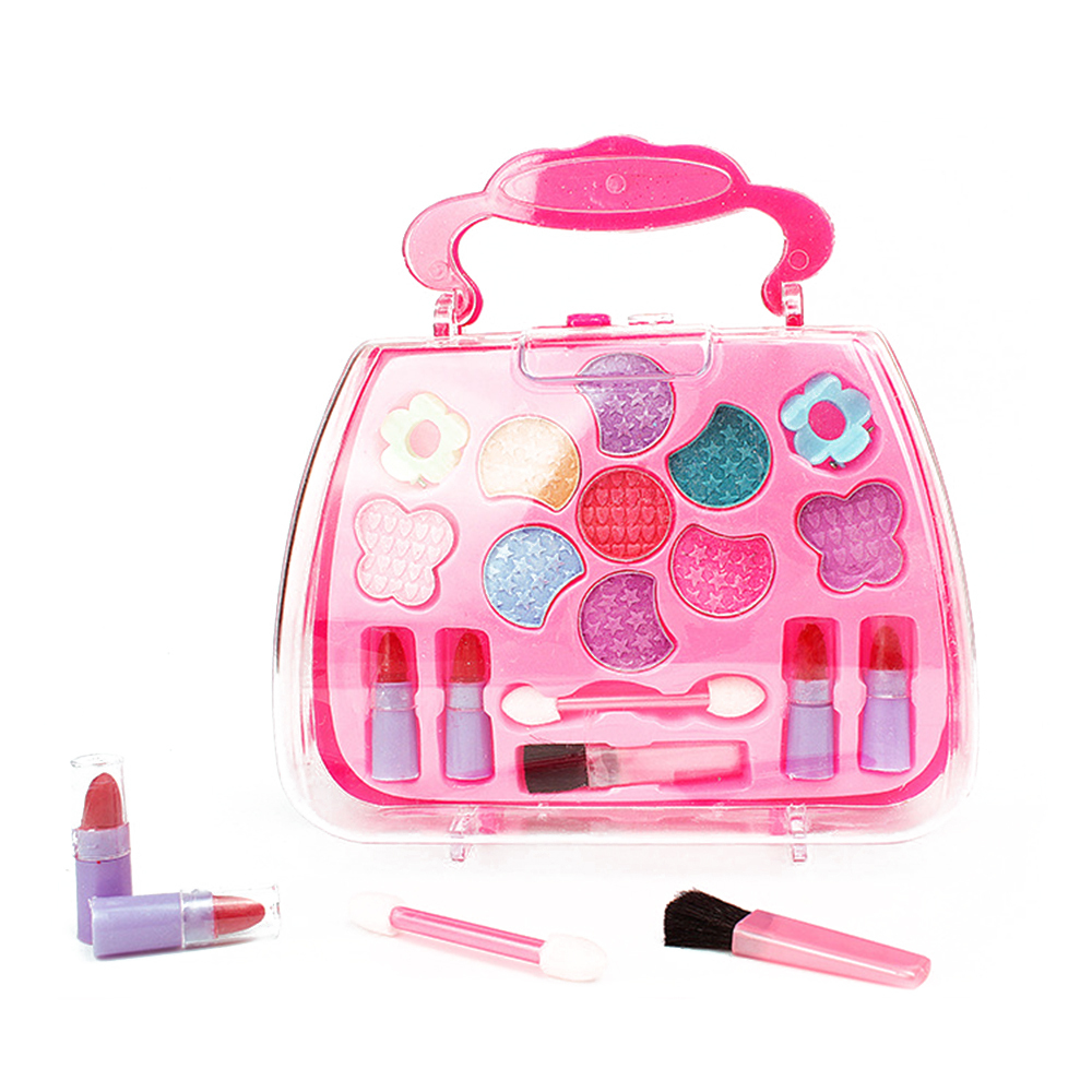 Kids Girls Pretend Makeup Play Cosmetics Kit Box With Handle Toys Little Girls Makeup Set Preschool Kid Beauty Safety Set Toys