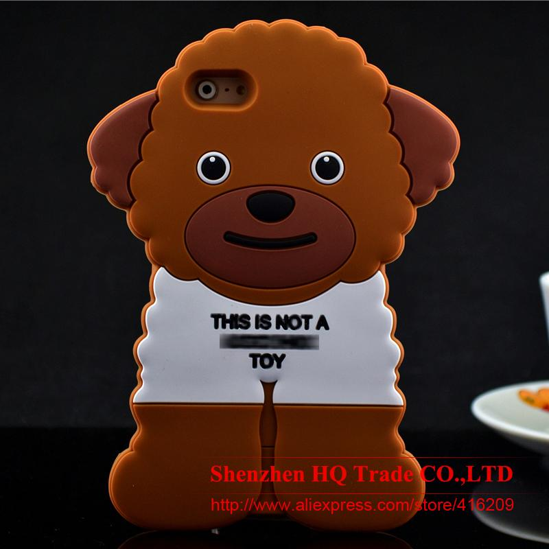 For iPhone 5/5s /SE/ 6/ 6s/ 6Plus/ 6s Plus Cartoon Teddy Dog Case With LOGO Cover Phone Silicone Case