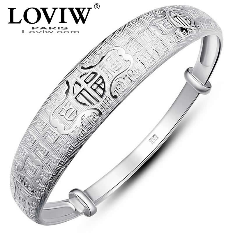 100 Fu Segen 999 Sterling Silber Armreif Silber Manschette Armband Breite Mode Weibliche Edlen Schmuck Für Frauen Chinesischen Segen Wort