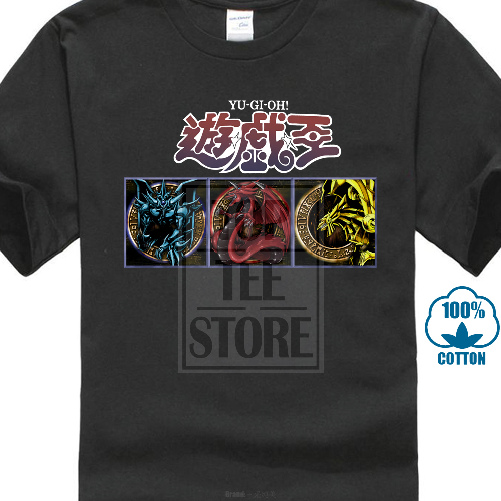 New YU GI OH Egyptian God Cards Anime Cartoon Men's Black T-Shirt Size  S to 3XL