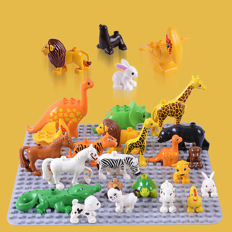 Classic Toy Animals Big Building Block Set Animal Bricks Educational Model Christmas Gift Toys For Kid Baby Children Duploe Toy sytopia fire station fire police children building blocks big size educational toy for baby kid gift toy compatible with duploe