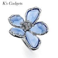 פרח טבעות גדולות טבעת קוקטייל חתונת נשים אירוסין כסף אופנה עלה זהב Austriaco anillos דה פלטה Anillos Cristal