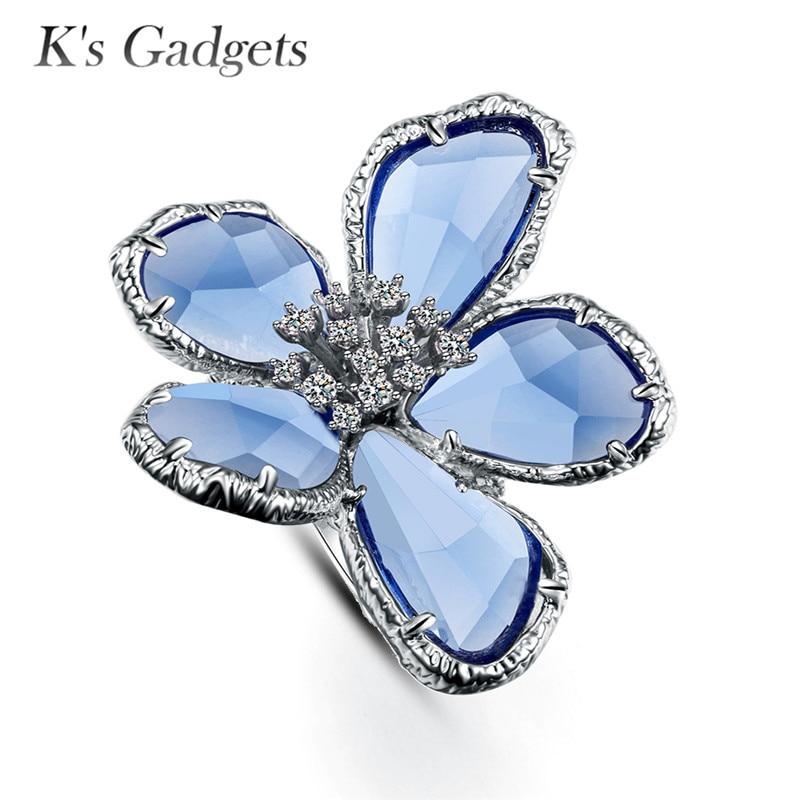 Fleur Grand Anneau Anneaux Pour Les Femmes De Fiançailles De Mariage Cocktail De Mode Argent Or Rose Anillos Cristal Austriaco anillos de plata
