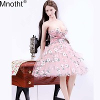 Mnotht 1/6 Female Pink Strapless Dress Skirt Fresh Floral Bra Pleated Dress for 12in Soldier PH Big Bust Action Figure Body m4n