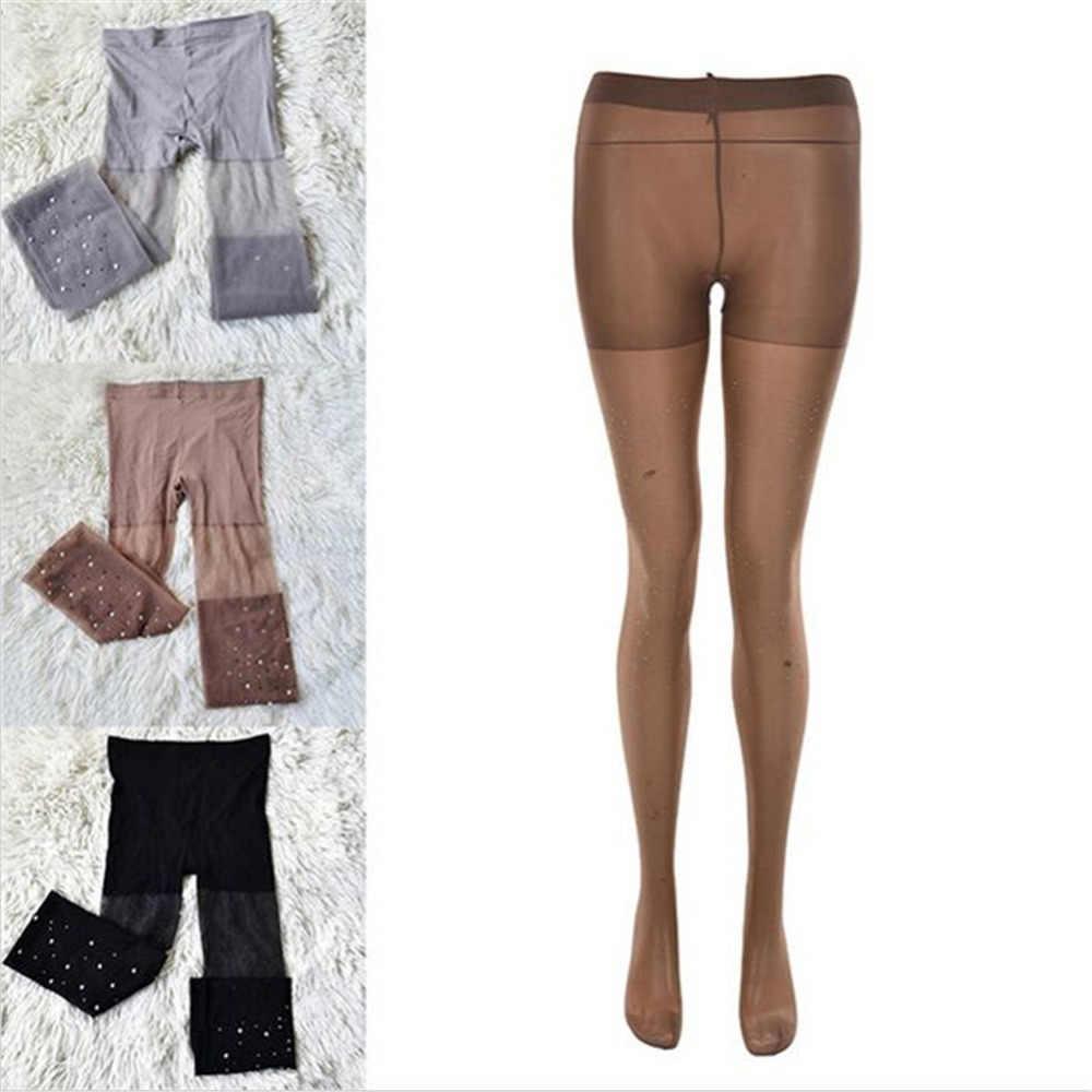 Sexy feminino básico estiramento meias ultra fino bling meia-calça cristal strass collants fino ajuste meias