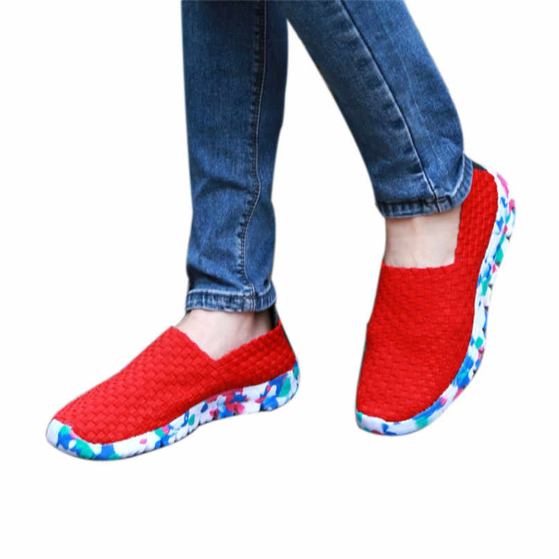 54982517a680 Comfortable Shoes Women Woven Flat Breathable Shallow Mouth Lazy Slip  Resistant Leisure Sport Shoe Running Shoes