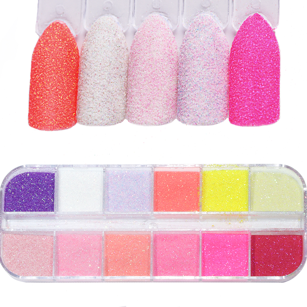 12 Colors DIY Sugar Rub Nail Art Glitter Sandy Sparkles Sequins Solid Design Nail Dipping Powder Decoration for Manicure TRTY 1|Nail Glitter| |  - AliExpress