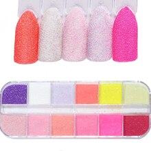 12 kolorów DIY Sugar Rub Nail Art Glitter Sandy Sparkles cekiny solidna konstrukcja paznokci zanurzenie do dekoracji w proszku do Manicure TRTY 1