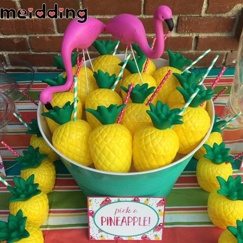 MEIDDING 6Pcs Flamingo Theme Birthday Party Tableware Supplies Kids Party Disposable Cup Baby Shower Pineapple Coconut Drink Cup ...
