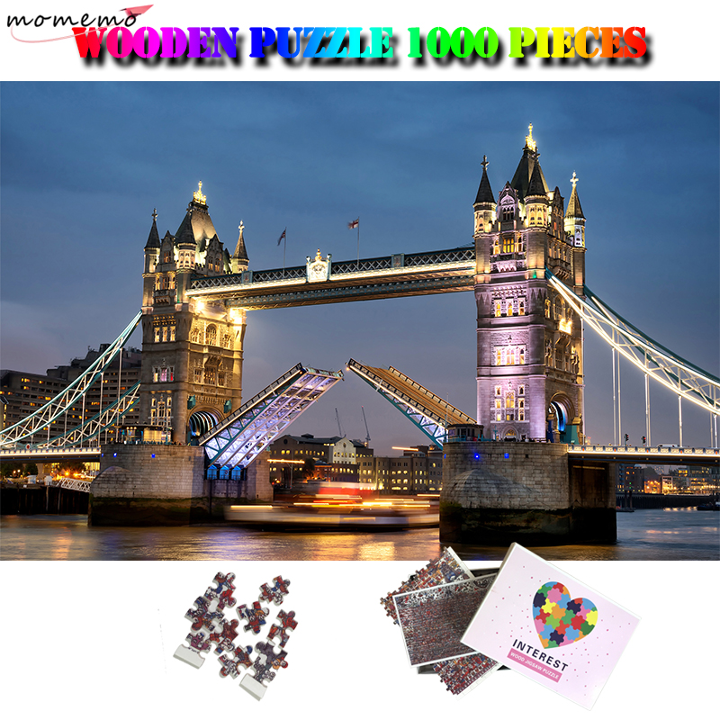 MOMEMO London Tower Bridge 1000 Pieces Wooden Jigsaw Puzzle Adult Landscape Puzzle 1000 Pieces World Famous Building Puzzles Toy